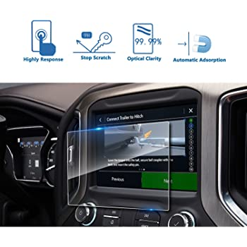 SATIS Premium Screen Protector Compatible with 2019 2020 Chevrolet Silverado 1500 8 Inch Touch Screen Anti Glare Scratch Fingerprint Navigation Protection Tempered Glass