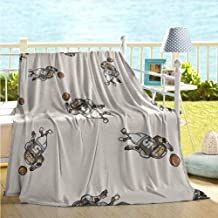 maisi Football Lightweight Blanket Pattern of Cartoon Player Running with The Ball Training for The Game Rug Blanket for Sofa Couch Bed Taupe Brown White