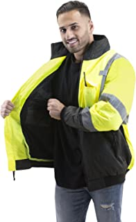 JORESTECH 2-in-1 Ripstop Safety Bomber Jacket Waterproof Reflective High Visibility with Detachable Hood and Fleece Liner Yellow/Lime ANSI Class 3 Level 2 Type R JK-02 (S)