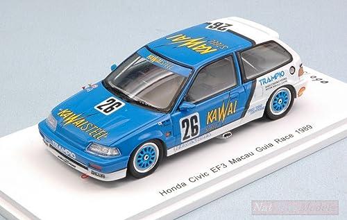 nueva marca Spark Model SA130 Honda Civic EF3 N.26 DNF DNF DNF Macau GUIA Race 1989 Kazuo 1 43 Compatible con  precio al por mayor