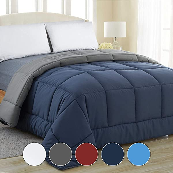 Equinox All Season Navy Blue Charcoal Grey Quilted Comforter Goose Down Alternative Reversible Duvet Insert Set Machine Washable Plush Microfiber Fill 350 GSM Queen 88 X 88 Inches