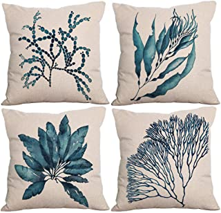 Sfemn 4 Pack Decorative Throw Pillow Cover 18x18 inch, Solid Cotton Linen Outdoor Patio Pillow Cases for Porch, Couch, Bed - Blue Leaf