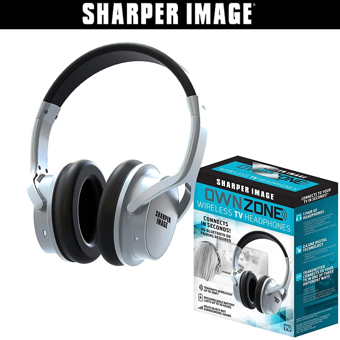 Sharper Image OWN ZONE Wireless Rechargeable TV Headphones- RF Connection, 2.4 GHz, Transmits Wirelessly up to 100ft, No Bluetooth Required, AUX, RCA, & Optical Cable Included (Silver) (Renewed) nynbirly6