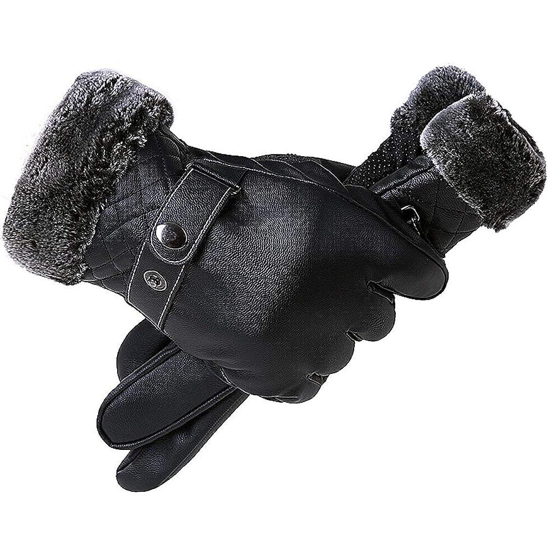 花に水をやる窒息させる突破口34GYP 冬のタッチスクリーン革手袋防水乗馬のオートバイの革手袋を加えたベルベットの肥厚フル手ライディング防風男性 (Size : B)