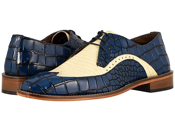 1950s Mens Shoes: Saddle Shoes, Boots, Greaser, Rockabilly Stacy Adams Trazino Blue Multi Mens Shoes $75.67 AT vintagedancer.com