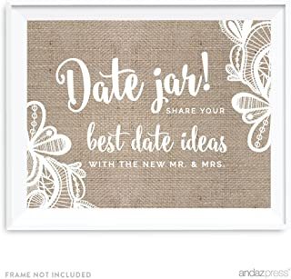 Andaz Press Burlap Lace Print Wedding Collection, Party Signs, Date Jar Share Your Best Date Idea With the New Mr. & Mrs. Sign, 8.5x11-inch, 1-Pack