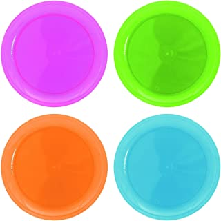 Hard Plastic Plates, Great for Parties, Assorted Neon Colors, 10.5 inches, 20 Pack