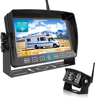 """$179 » Fookoo 1080P Wireless Backup Camera System Kit with Recording, 7"""" HD Split Monitor with Touch Button & IP69 Waterproof Rea..."""