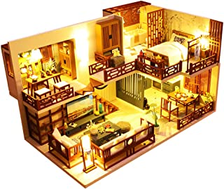 Dollhouse Miniature with Furniture, DIY Wooden Doll House Kit Chinese Style Plus Dust Cover and Music Movement, 1:24 Scale...