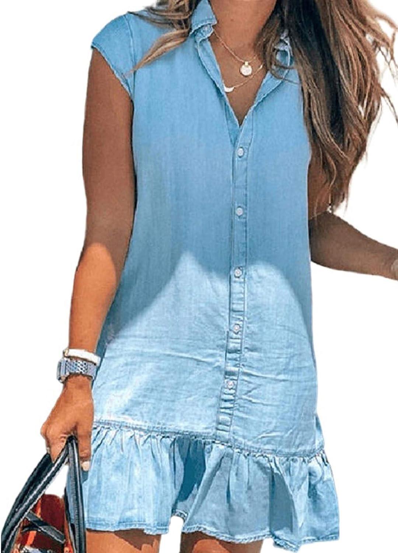 Happy Sailed Womens Denim Dress Casual Button Up Cap Sleeve Ruffle Hem Shift Mini Dresses