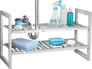 Smart Design 2-Tier Under Sink Expandable Organizer w/ 6 Adjustable Shelves - Expands 18 to 31 Inch - Solid Plastic Frame - for Sinks, Pantry, Shelf Organization - Kitchen [Gray]