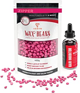 Hard Wax Beans for Painless Hair Removal - Made In USA - Coarse Body Hair Specific - For Brazilian, Full Body, Underarms, Back, Chest, Legs By Venyn