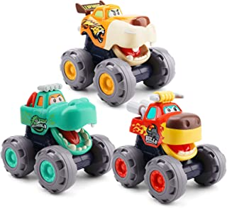 nicknack Baby Car Toys Toddler Vehicles Set - 3 Pack Friction Powered Push & Pull and Go Trucks Animal Off-Road for 1 2 3 ...