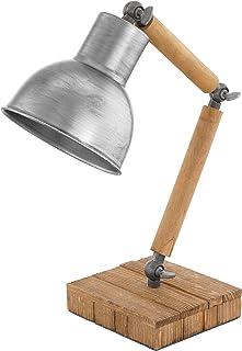 EGLO Lámpara de mesa Stringston, 1 lámpara de mesa vintage, industrial, retro, lámpara de noche de madera y acero en marrón y plata con brazo giratorio, lámpara con interruptor, casquillo E27