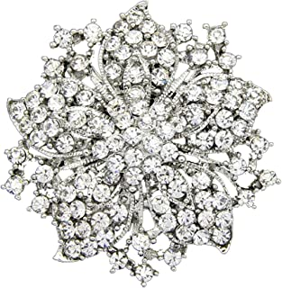 Danbihuabi Silver/Gold Plated Vintage Crystal Rhinestone Brooch Pin 7 Colors