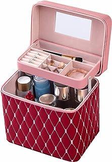 Makeup Case, Draagbare Draagbare Cosmetische Behuizing, PU Multifunctionele Cosmetische Tas Grote Capaciteit Mode Draagbar...