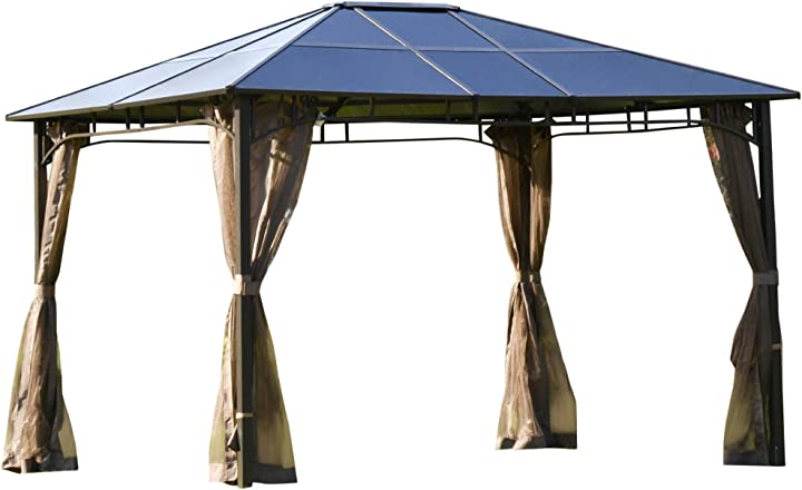 Gazebo da giardino con zanzariera 3.6x3m, struttura acciaio e alluminio, tetto policarbonato marrone IT84C-2400631