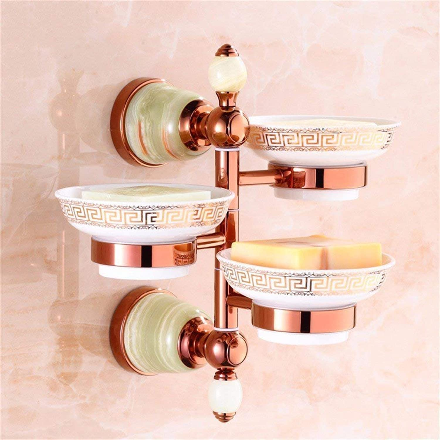 Jade Green Pink gold Small Hair-Bath Towels Accessory Kit Suspension Hook of Copper in The Dishesb,Three