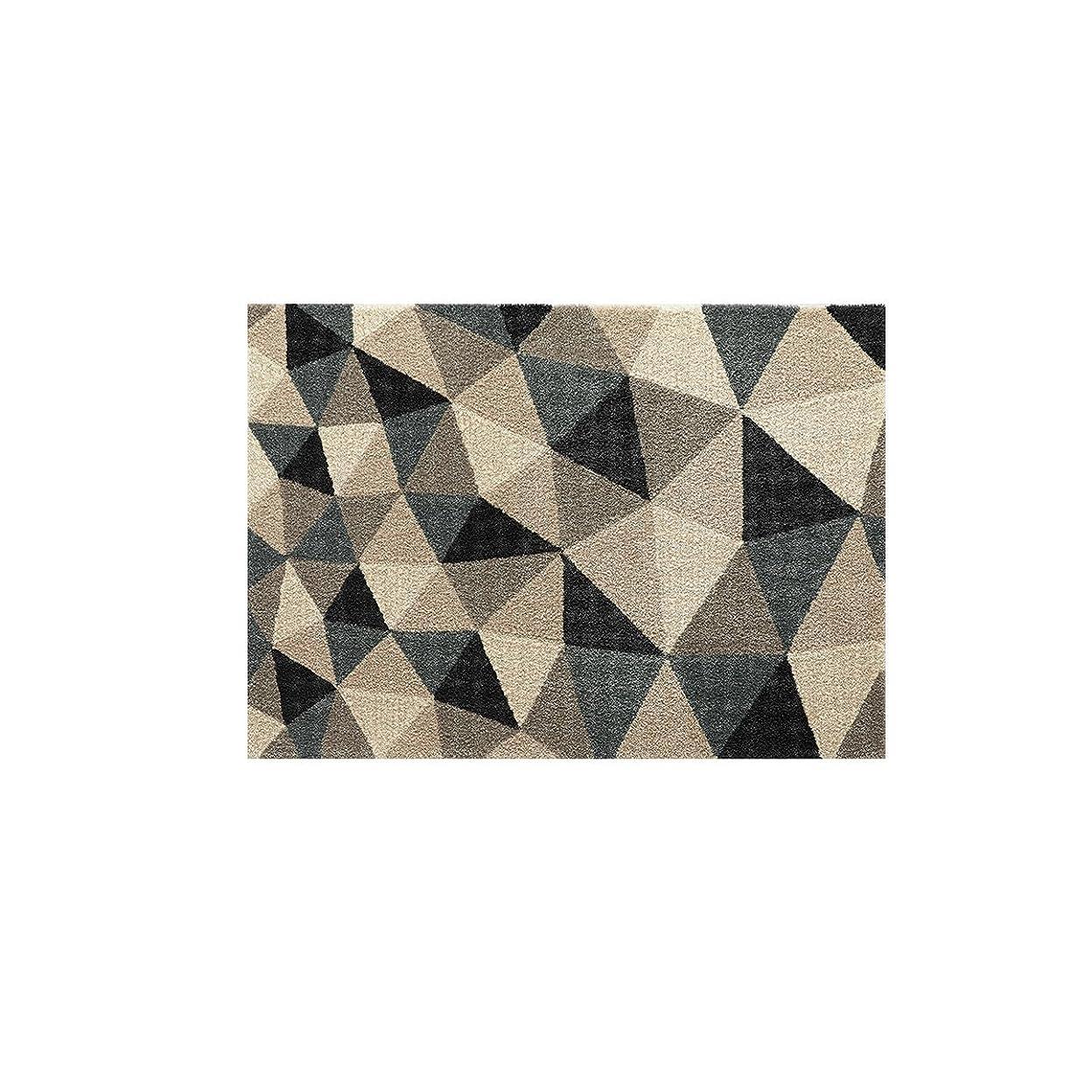 不一致相談洞察力ブラック/ラグマット 幾何パターン 三角形 モダン 上品 気品 落ち着き クール かっこいい 品性 ラグ