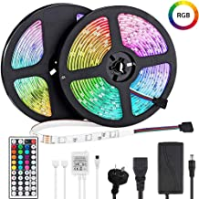LED Light Strip 10m, Renovo LED Strip 32.8ft 300LEDs 5050SMD RGB LED Strip Lights with Remote Control and Power Supply for Bedroom, Kitchen, Cabinet