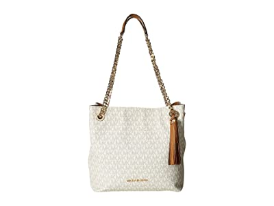 MICHAEL Michael Kors Jet Set Chain Signature Medium Shoulder Tote (Vanilla) Cross Body Handbags