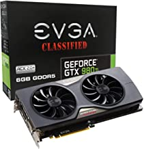 EVGA GeForce GTX 980 Ti 6GB CLASSIFIED GAMING ACX 2.0+, Whisper Silent Cooling w/ Free Installed Backplate Graphics Card 06G-P4-4998-KR (Renewed)