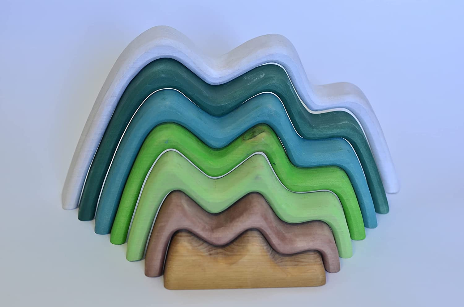 Large Mountains stacking toy birch Import New life toys Wooden Open p ended