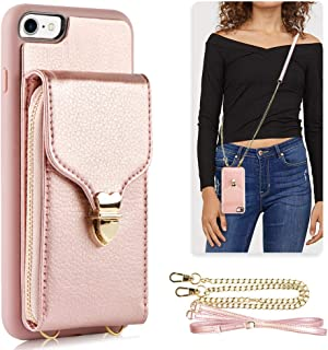 JLFCH iPhone 8 Wallet Case, iPhone 7 Zipper Wallet Case with Card Slot Holder Leather Handbag Buckle Detachable Wrist Strap Long Crossbody Strap Purse for iPhone 7/8 4.7 inch - Rose Gold