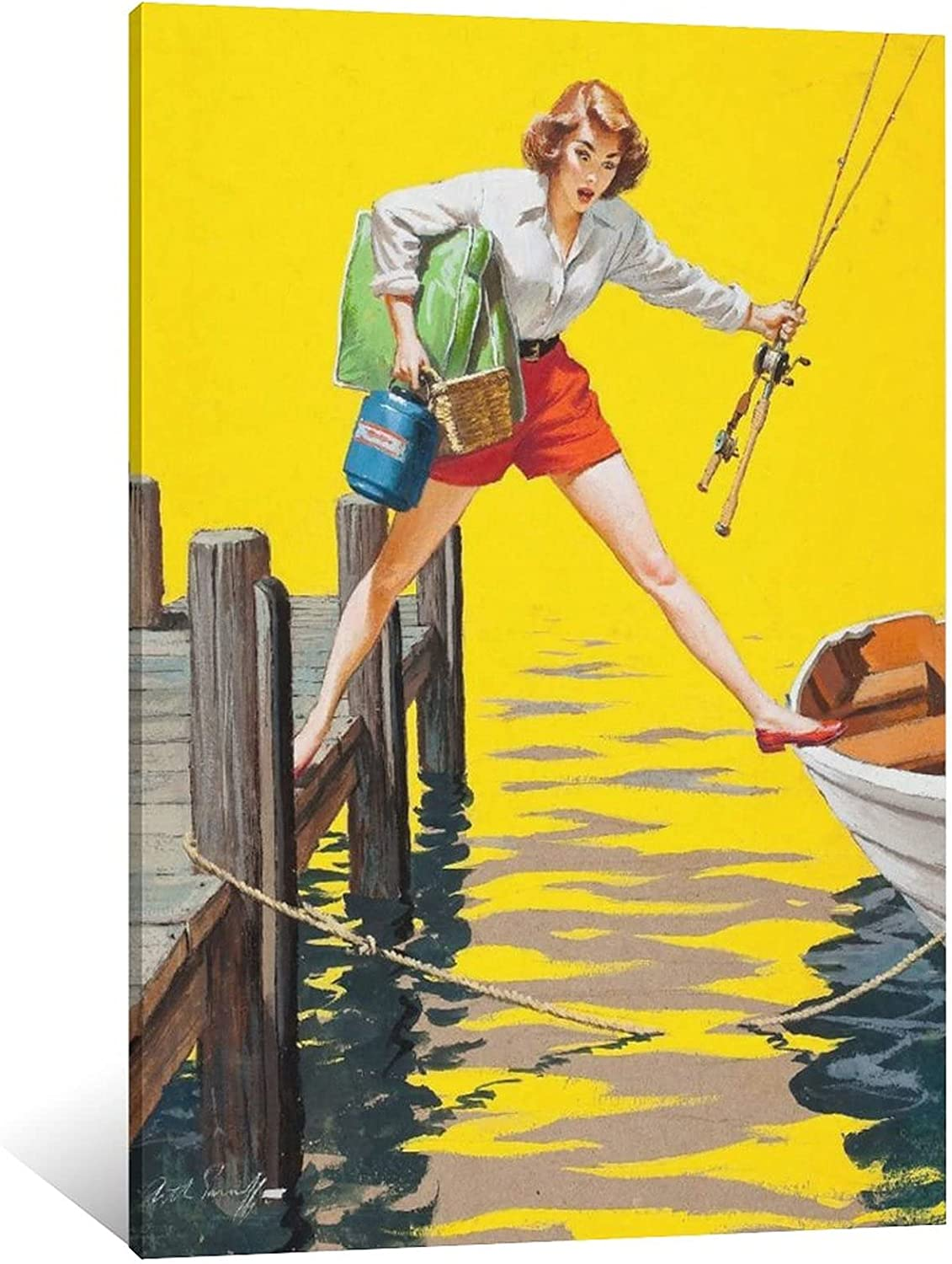 SUPERYUFENG Girl Fishing Canvas Finally Limited time sale popular brand Art Poster and Wall Picture