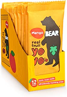 BEAR Real Fruit Snack Rolls - Gluten Free, Vegan, and Non-GMO - Mango – 12 Pack (2 Rolls Per Pack) - Healthy School And Lu...
