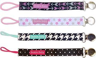 Bazzle bebek PACI Loop, 4adet uzun ömürlü emzik Leashes Black, White & Pink