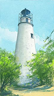 Little Cumberland Island Lighthouse, Georgia. Portrait by Gerald C. Hill. Matted Watercolor Art Prints (4x7)