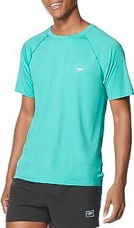 Speedo Men's Solid Short Sleeve Uv Swimshirt Regular Fit Rash Guard Shirt
