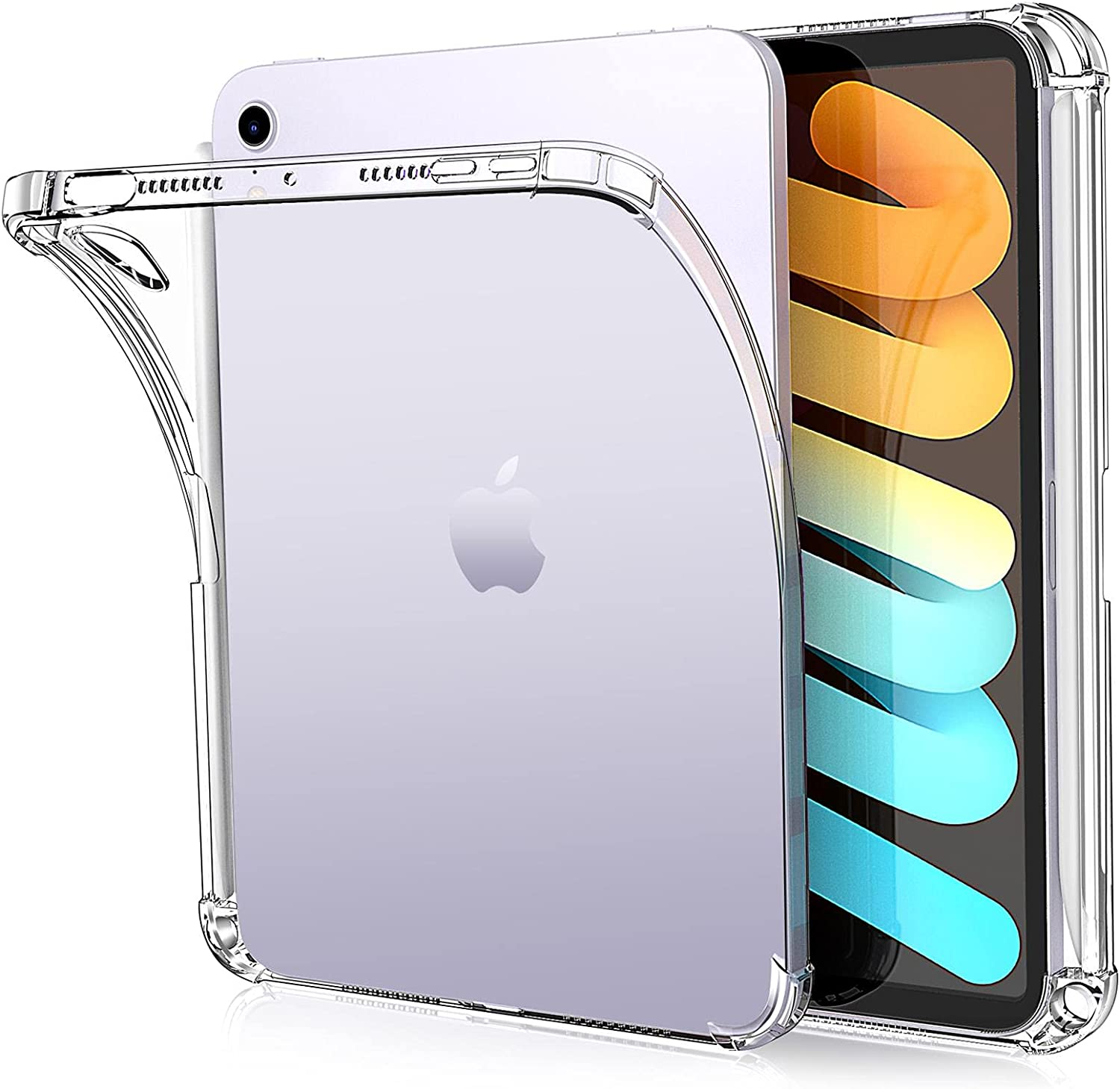 ZtotopCases Clear Case for iPad Mini 6 2021 with Pencil Holder, Ultra Slim Transparent Soft TPU Back Cover Skin for iPad Mini 6th Generation 8.3 Inch, Clear