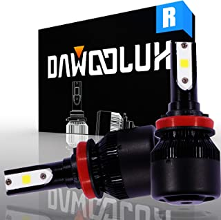 Dawoolux H11 LED Headlight Bulbs H9 Conversion Kit with 2 Pcs of COB Tech H8 LED Bulbs 60W 6400lm Cool White(Pack of 2)