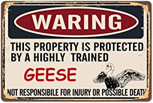 TREEPERI Vintage Metal Sign Warning Geese Tin Sign Wall Decor Decorative Sign Iron Painting for Yard,Home