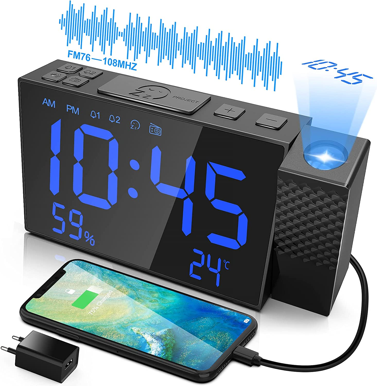 VCKHRRY 7,5 Pulgadas Proyección Despertador Radio FM Despertador Dual Repetición Temperatura Humedad Pantalla LED Atenuador Puerto USB Fácil de Usar