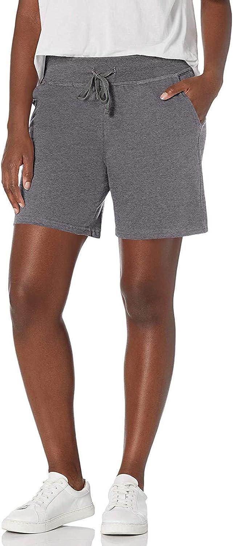 WUAI-Women Yoga Jersey Shorts Elastic Waist Casual Pajama Workout Active Bermuda Cargo Shorts with Pockets
