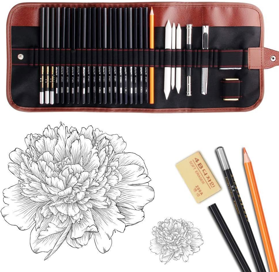 Dowswin 30 Pieces Sketch Pencils Set Charcoal Drawing Sketching latest Max 73% OFF
