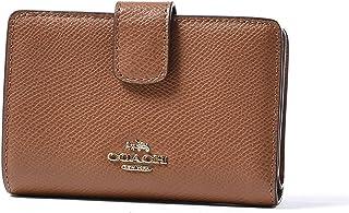 aed5f8c73af03 COACH Crossgrain Leather Medium Corner Zip Wallet Clutch (Saddle)