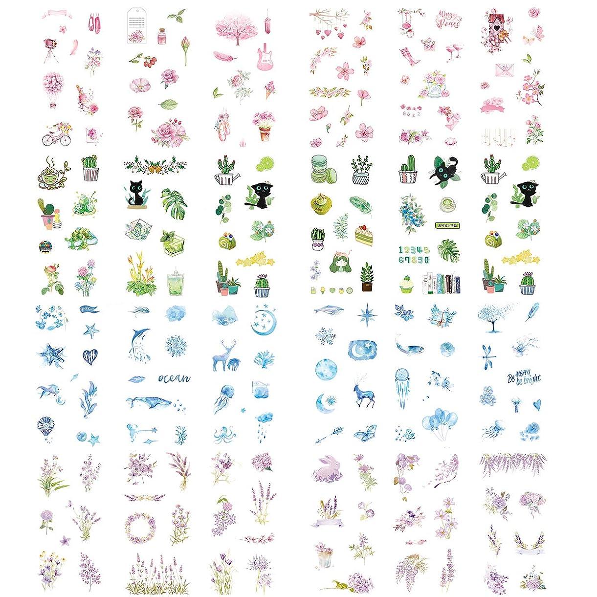 Kawaii Washi Stickers (Assorted 24 Sheets) Rose Sakura Pink Flower Green Plants Marine Life Ocean Starfish Whale Moon Starry Sky Balloon Lavender Purple Floral DIY Label for Scrapbooking Journaling lfjoa2285