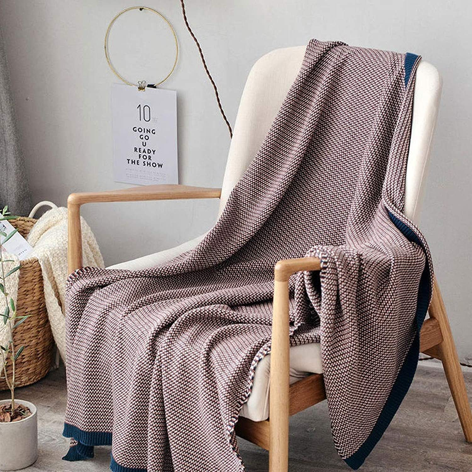 Cotton Solid color Wool blanket blanket Simple Wool Ball Knitting line blanket air Conditioning Sofa Leisure blanket (color   Purple, Size   51.18  62.99)