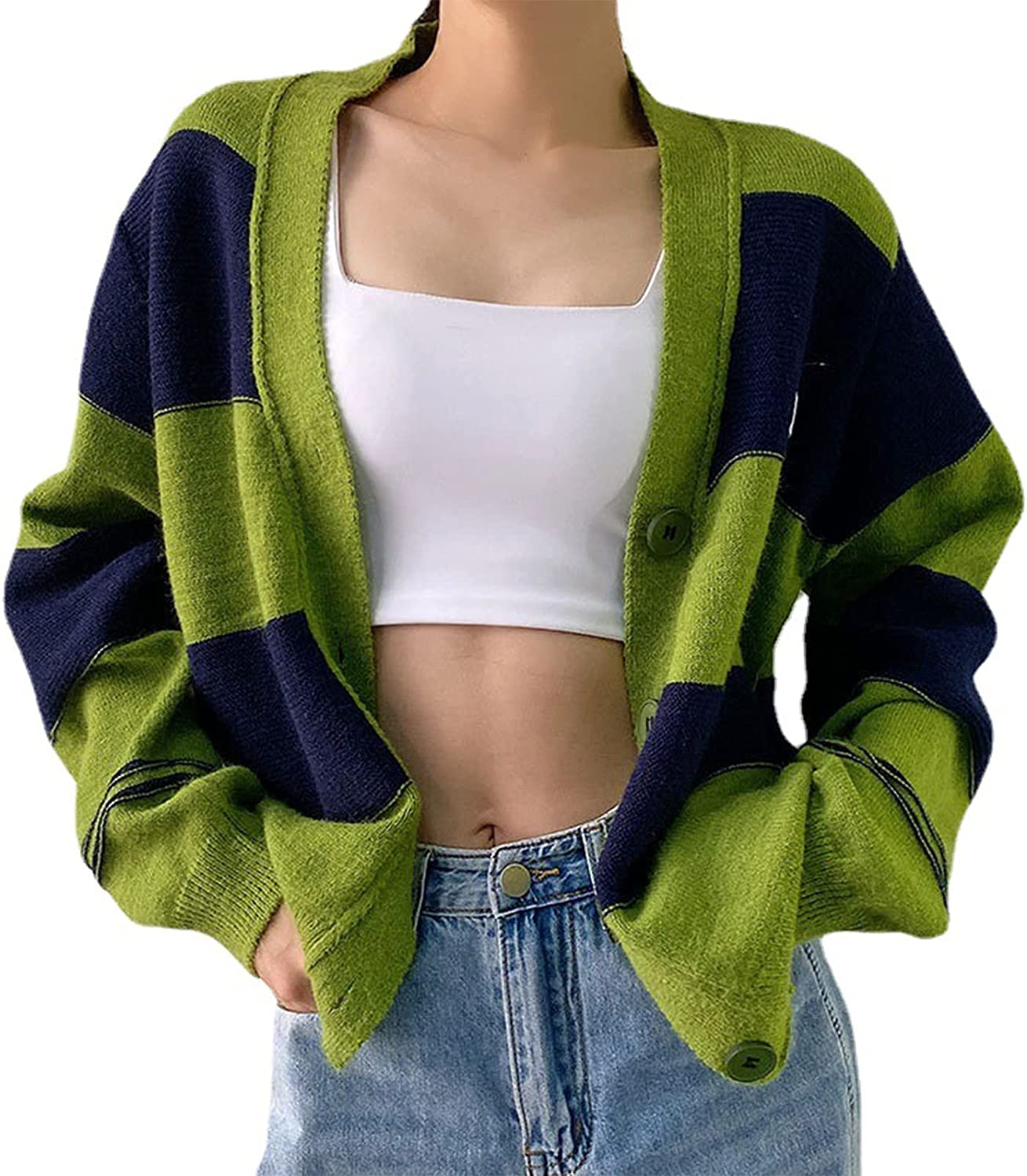 Women Slim Fit Printed Crop Tops Clothes Young Girl Fall Kint Outfits Long Sleeve V Neck Sweater Cardigans Pullover