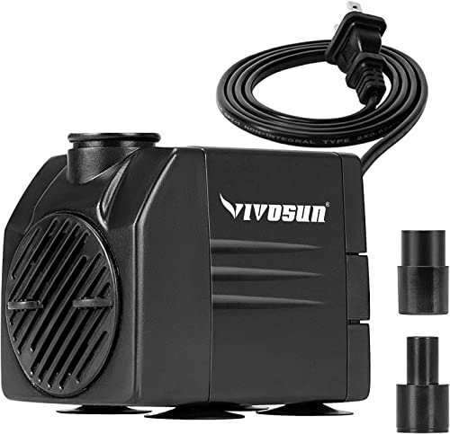 new arrival VIVOSUN 120GPH Submersible high quality Pump(450L/H, 6W), Ultra Quiet online Water Pump with 3.1ft High Lift, Fountain Pump with 5ft Power Cord, 2 Nozzles for Fish Tank, Aquarium, Statuary, Hydroponics online