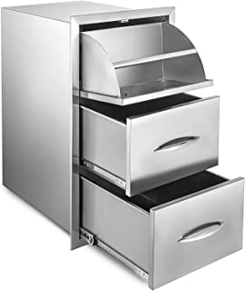 Mophorn 17x30 Inch Outdoor Kitchen Stainless Steel Triple Access BBQ Drawers with Chrome Handle, 17 x 30 x 20.7 Inch,