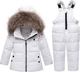 JELEUON Baby Girls and Boys Winter Warm Hooded Fur Trim Zipper Snowsuit Puffer Down Jacket with Snow Ski Bib Pants