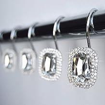 American Cuteness Shower Curtain Hooks Rings - Clear Luxurious Decorative Crystal Gems Bling Rhinestones Bathroom Bath Gif...