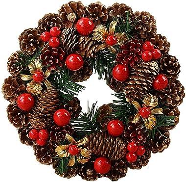 cff Deco Noel Exterieur avec Pommes de Pin et Baies, Noel Decoration 27 cm Guirlande Noel