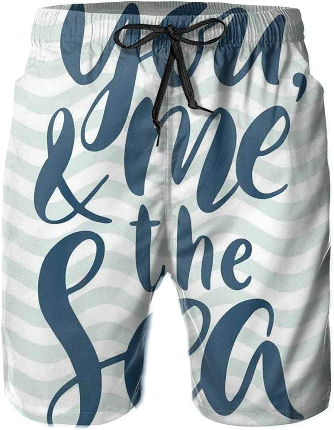 You Me and The Sea Text On Wavy Background Drawstring Waist Beach Shorts for Men Swim Trucks Board Shorts with Mesh Lining,L