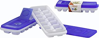ChefLand Easy Release No Spill Ice Cube Tray with Removable Cover, Stackable, Compact, Odor Free Ice Cube Tray In White Wi...